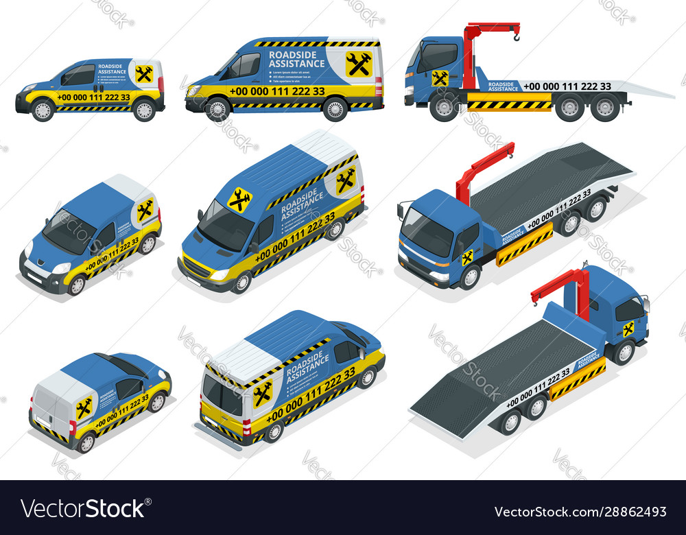 Online roadside assistance set tow truck