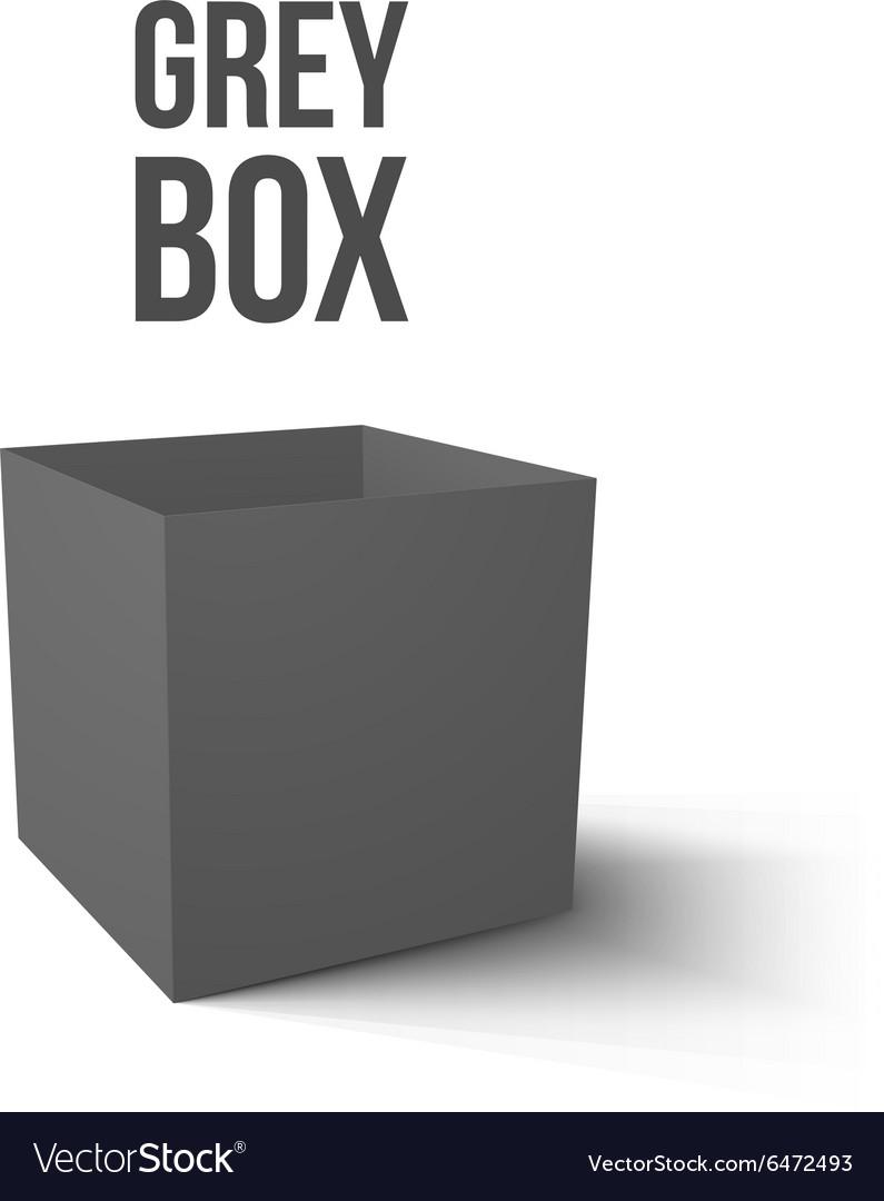 Realistic Grey Box isolated on white background