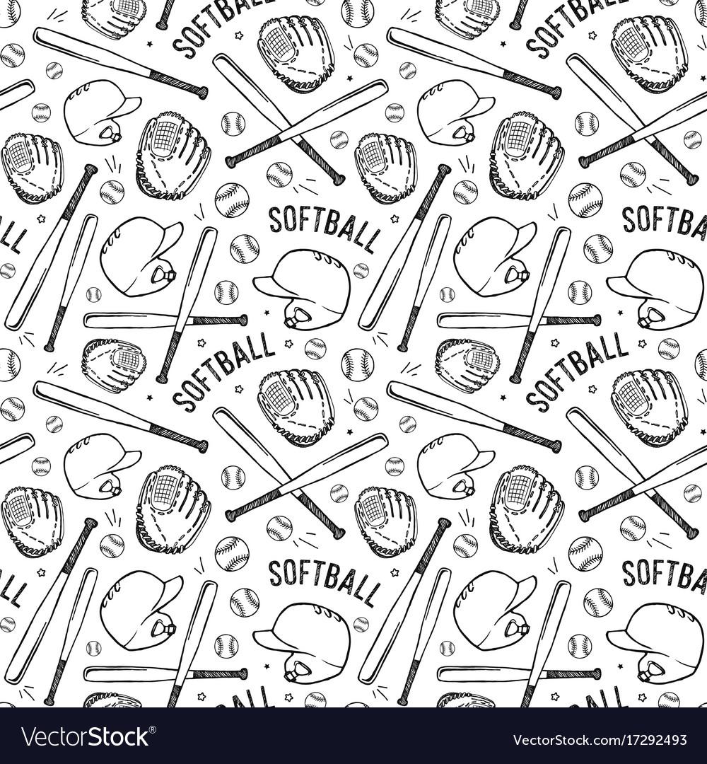 Seamless pattern of softball