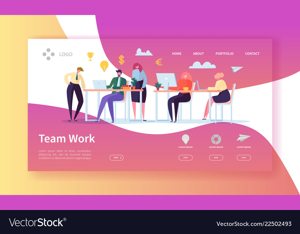 Team work landing page banner with business people