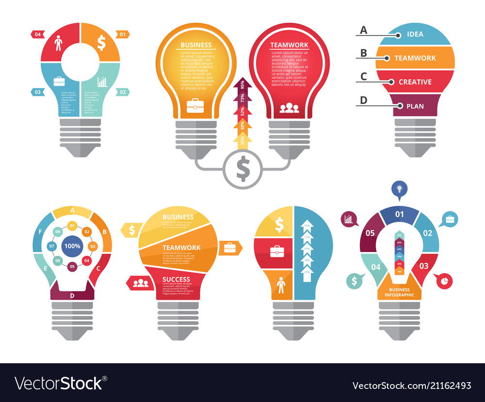 Various infographic shapes of lighting bulb