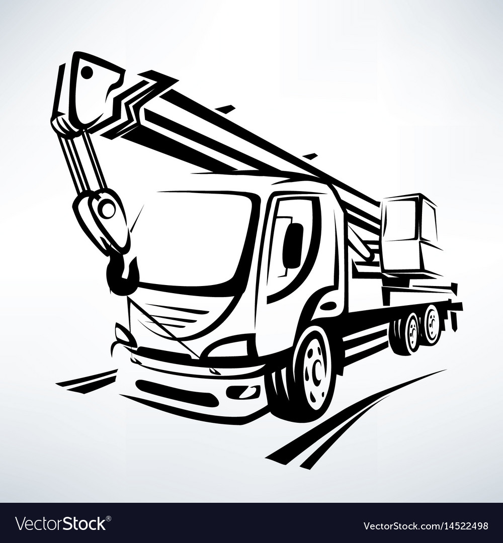 Auto crane isolated symbol stylized sketch Vector Image