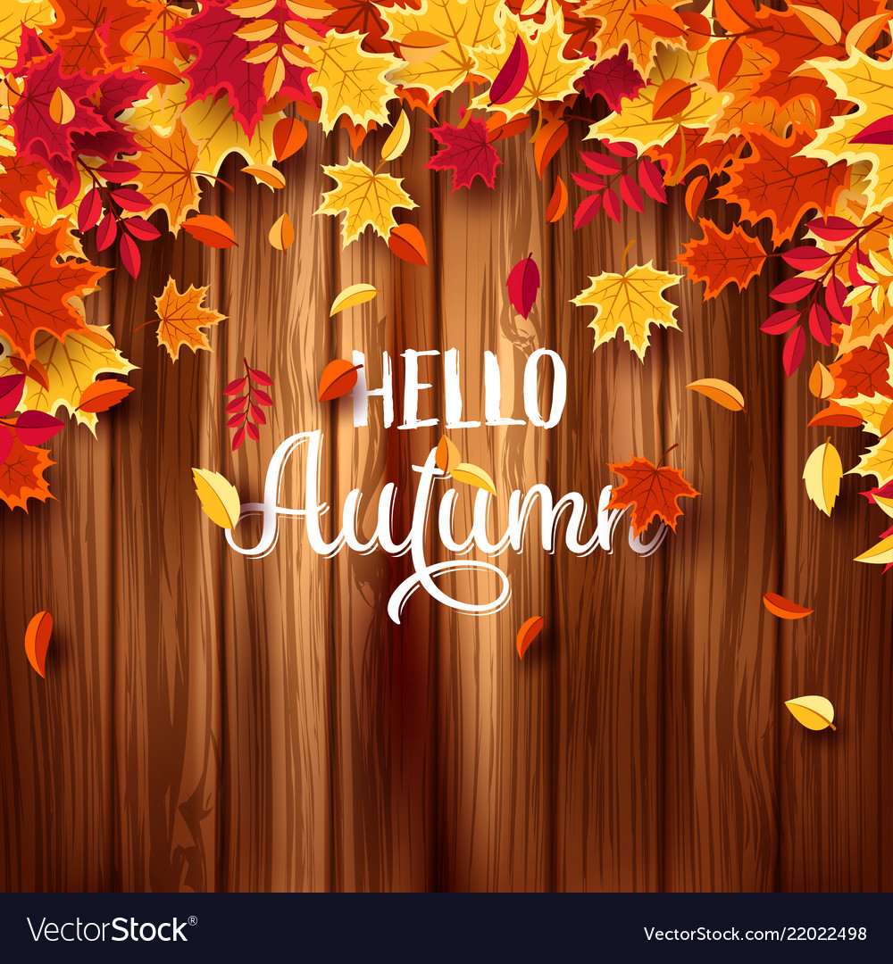 Autumn falling leaves with wood nature background