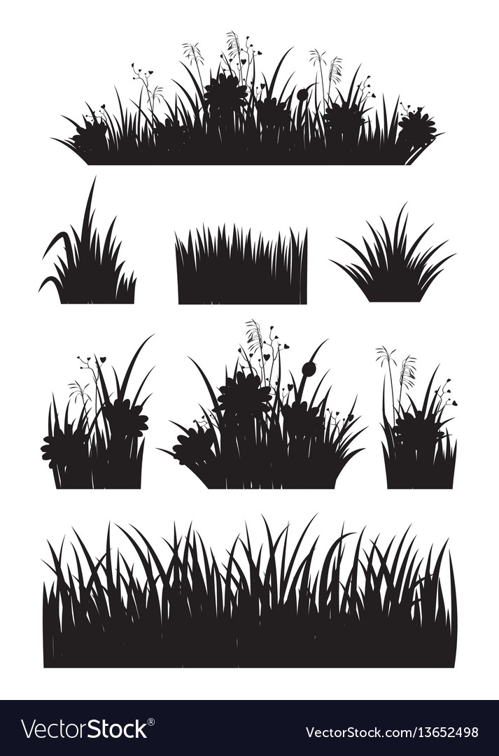 Border set with grass and flower silhouette set