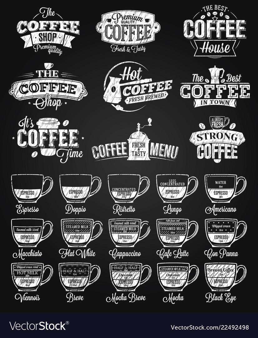 Coffee label logo and menu chalk drawing