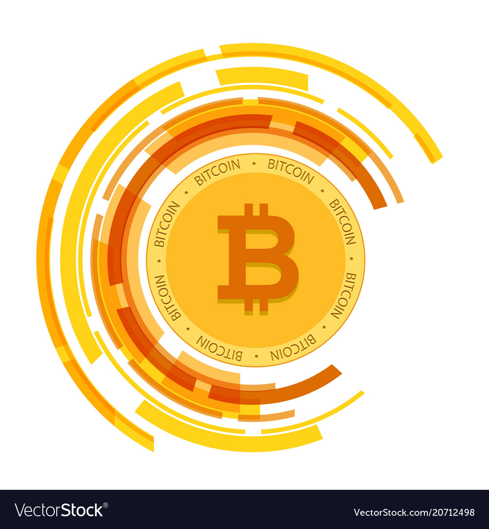 Golden bitcoin currency circle background i