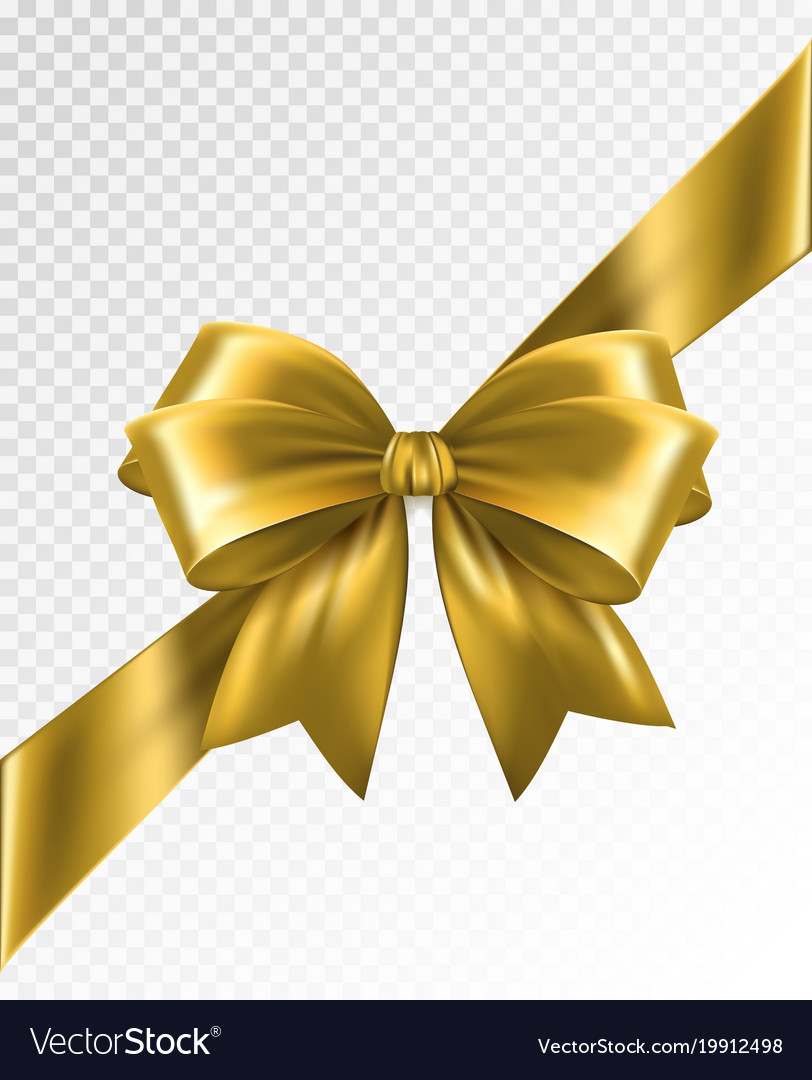 golden corner ribbon with bow design royalty free vector