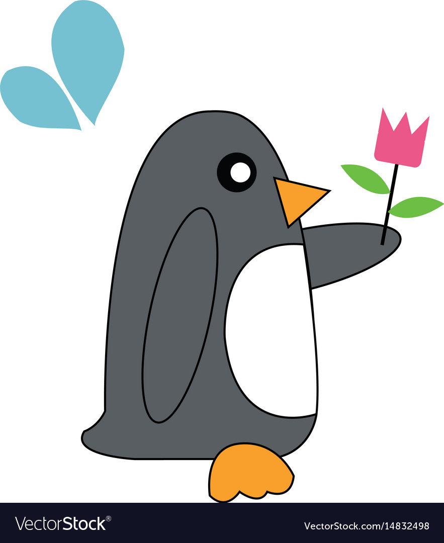 penguin holding flowers royalty free vector image