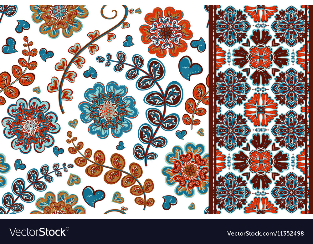 Set of flowers seamless pattern and border