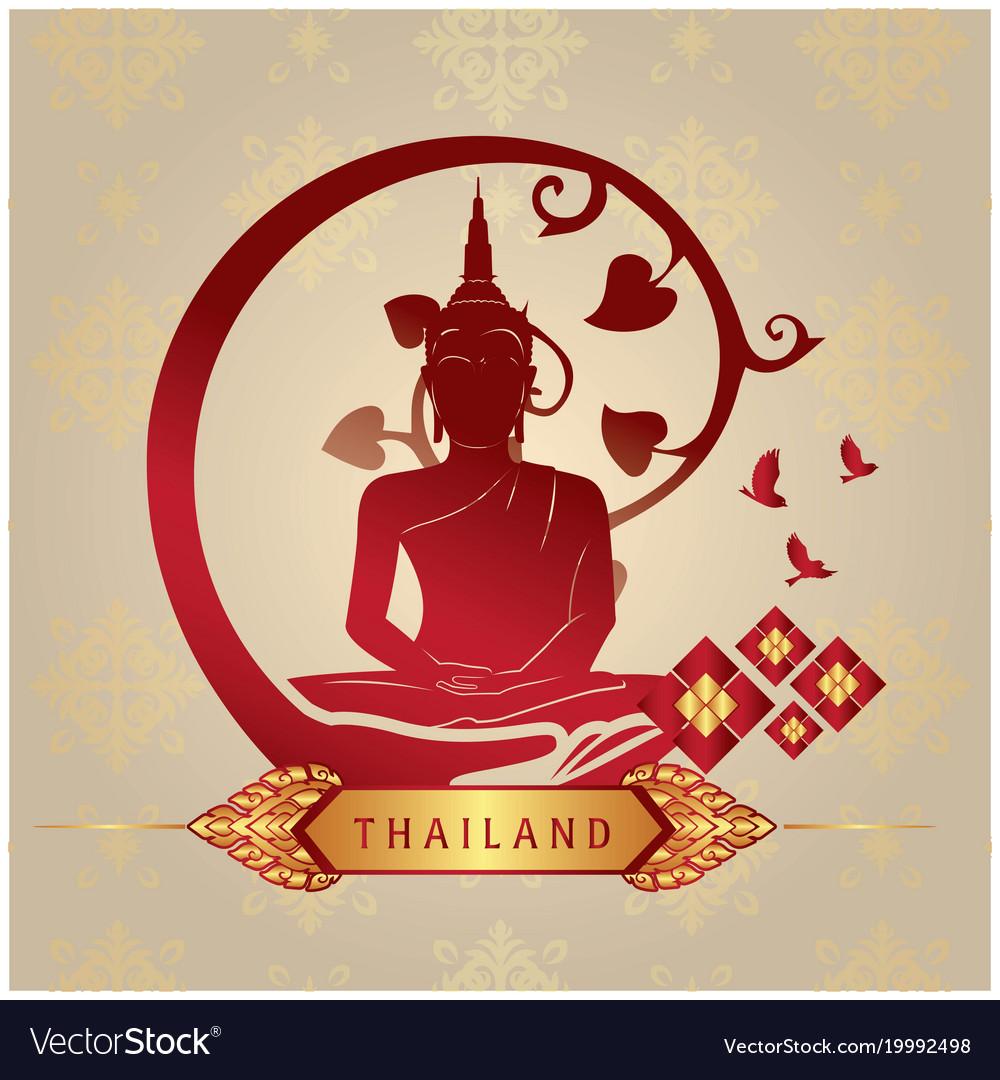 Thailand Buddha Statue Copper Background Im Vector Image