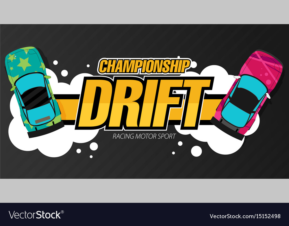 Top view of a drifting cars drift banner for web