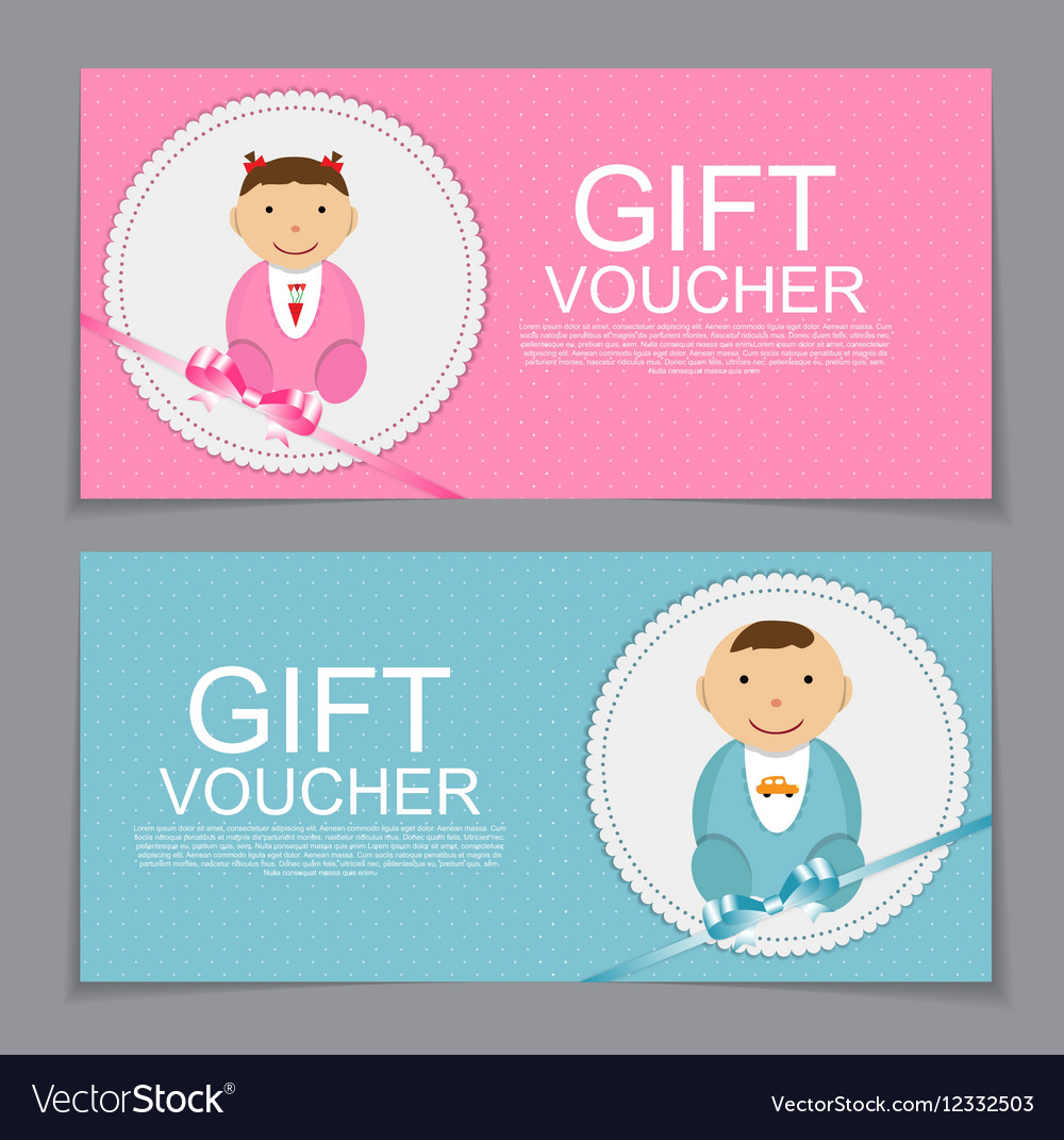 Baby Gift Voucher Template Royalty Free Vector Image