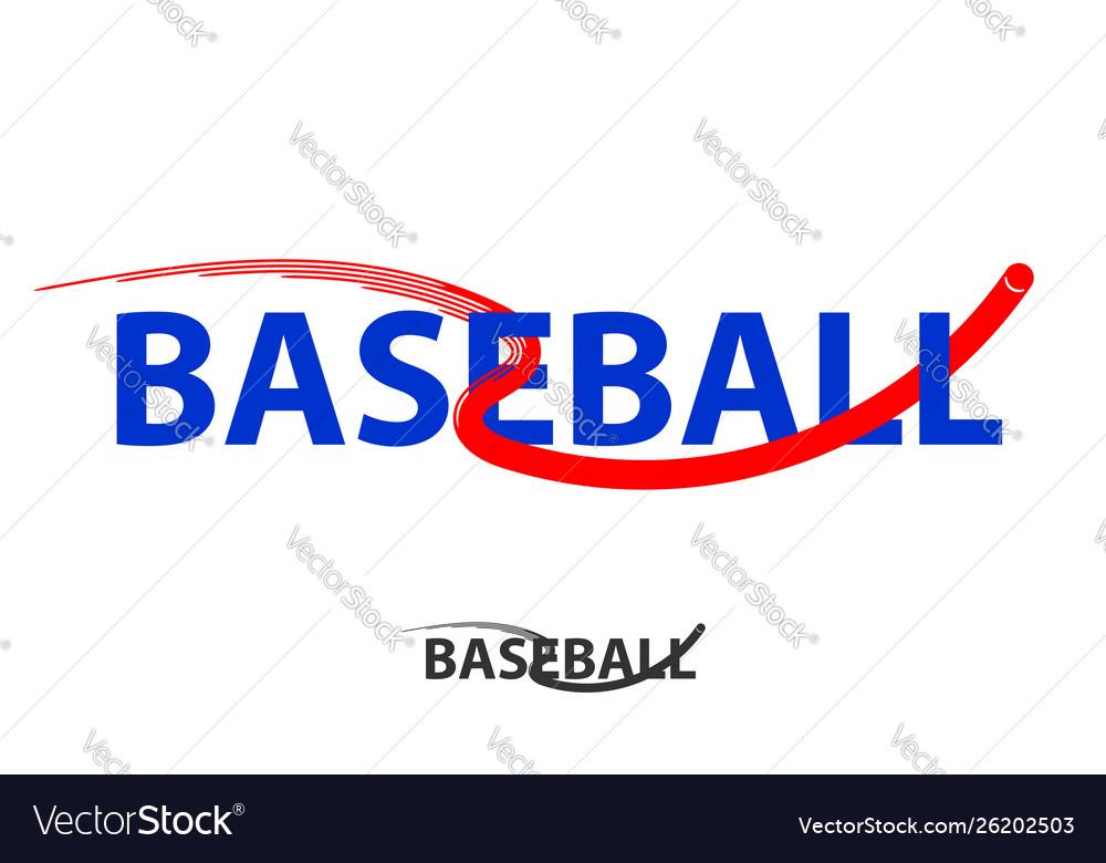 Baseball logo with fly ball symbol isolated on