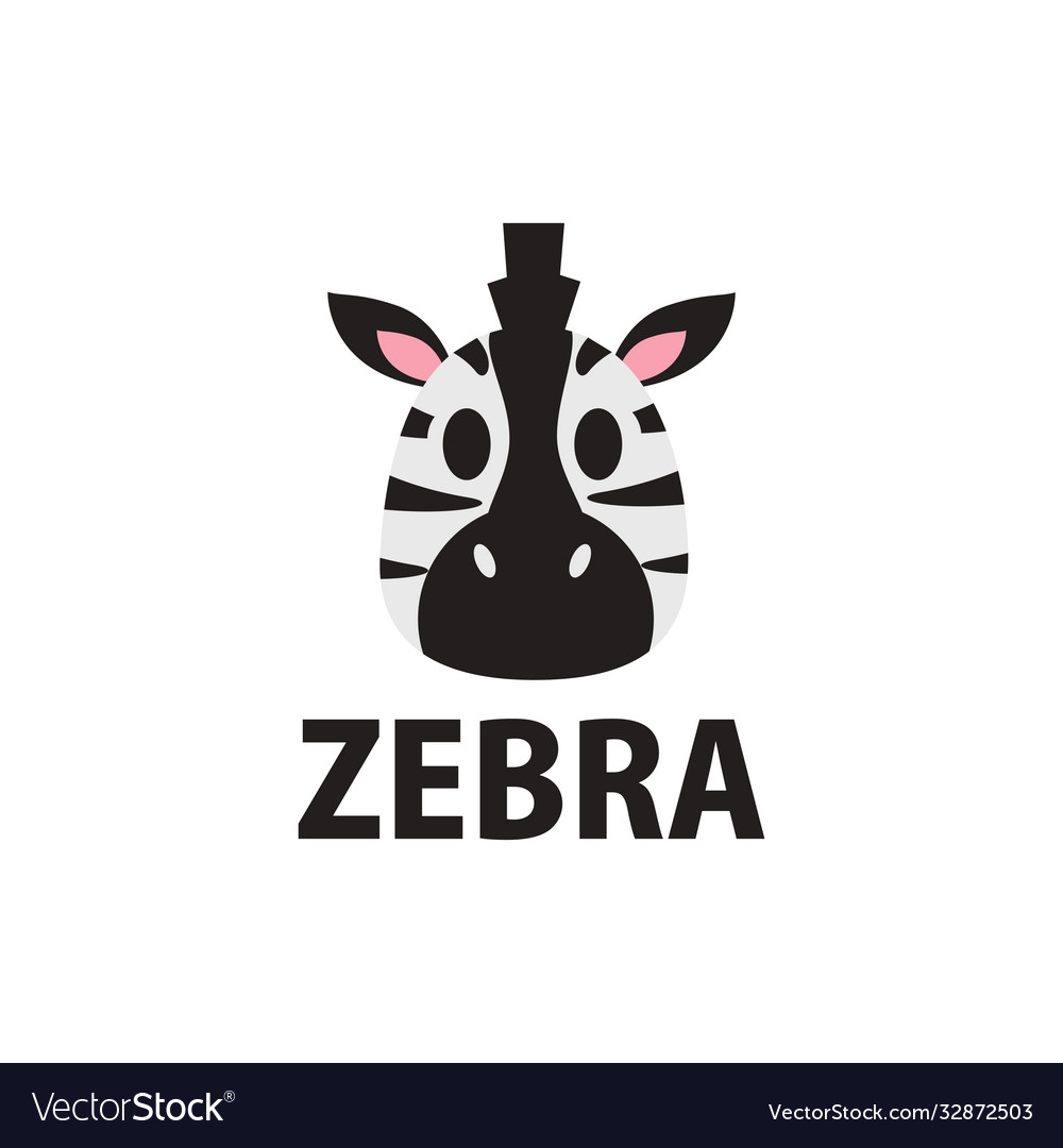 Cute zebra flat logo icon