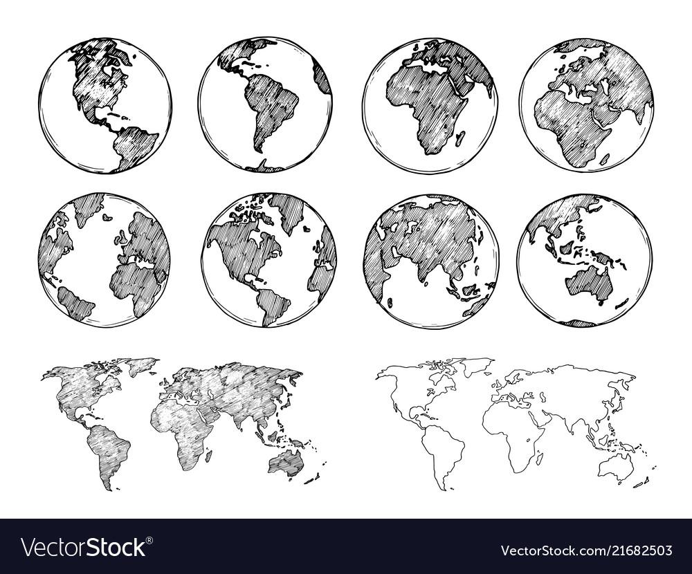 Globe sketch hand drawn earth planet