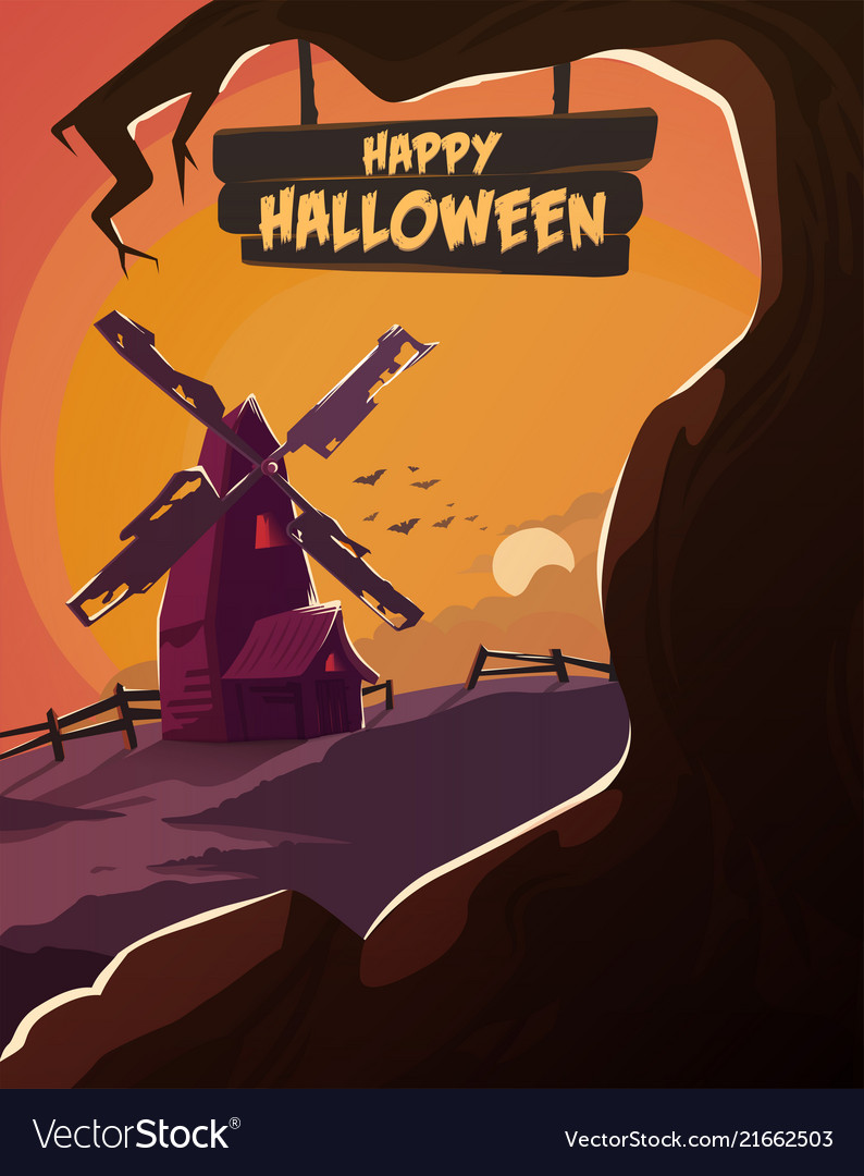 Halloween poster spooky mill with dead trees