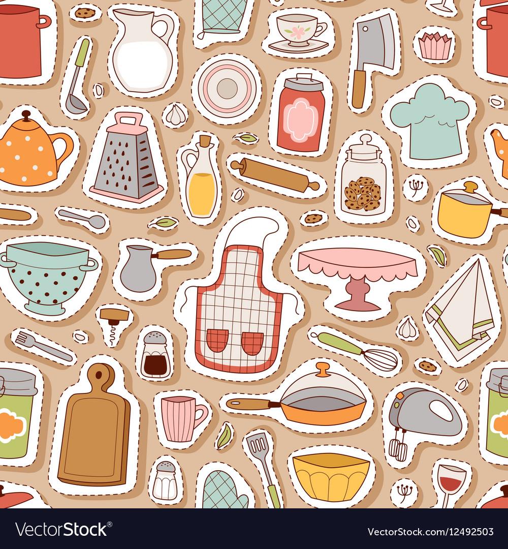 Kitchenware seamless pattern