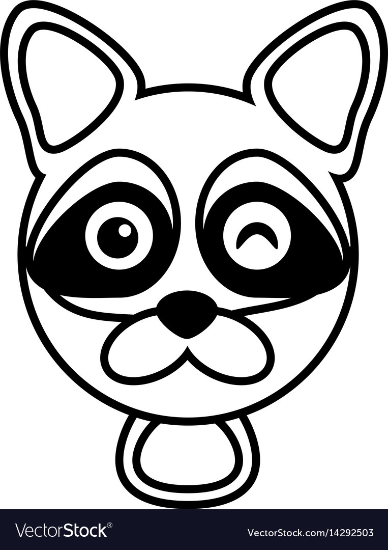 Outline raccoon head animal vector image