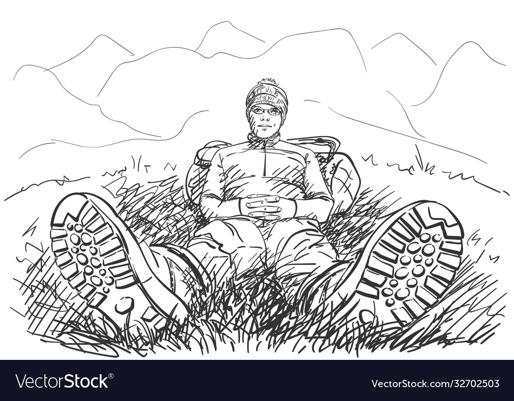 Perspective drawing hiker man sitting on