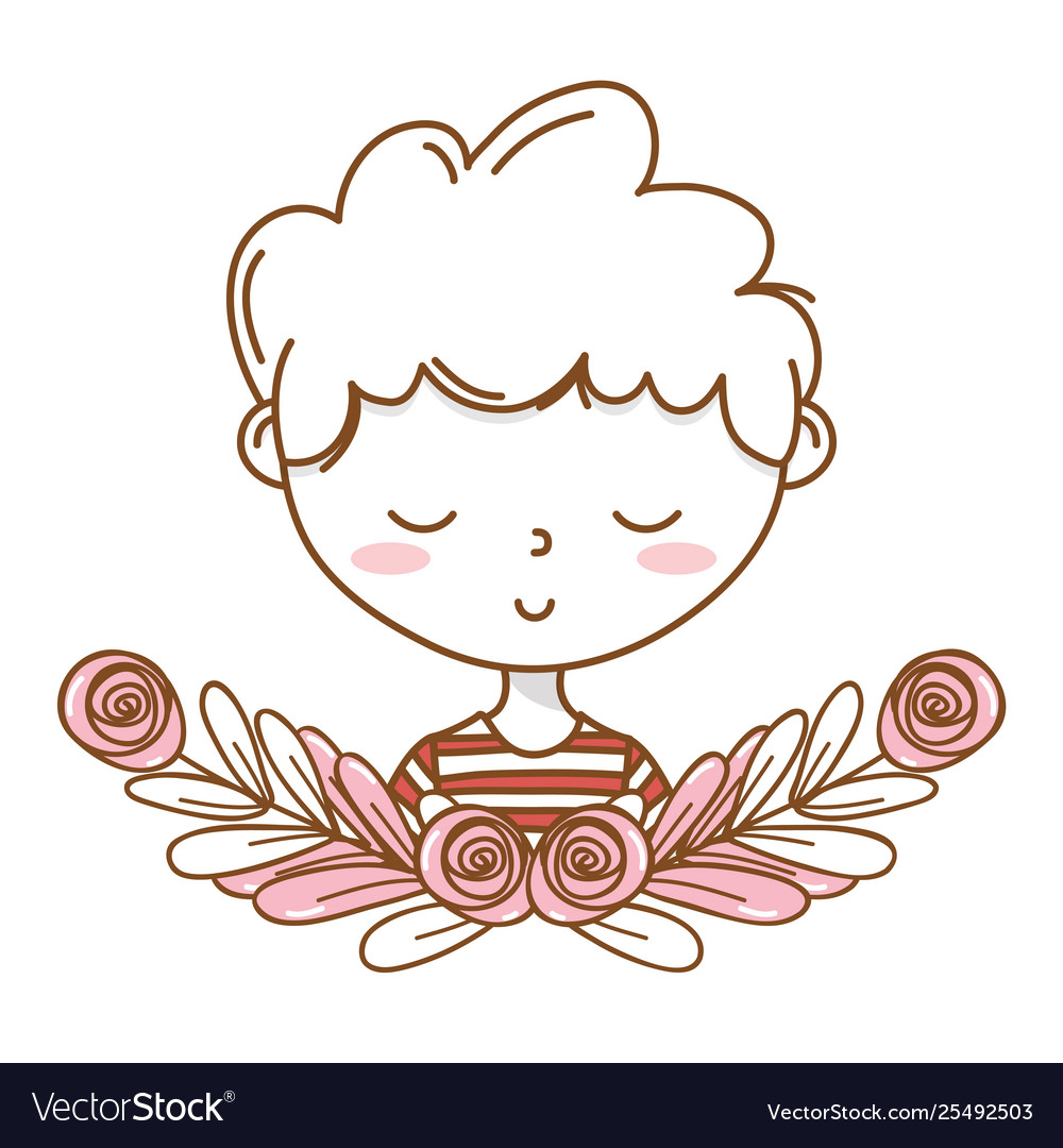 Stylish boy cartoon outfit portrait floral wreath