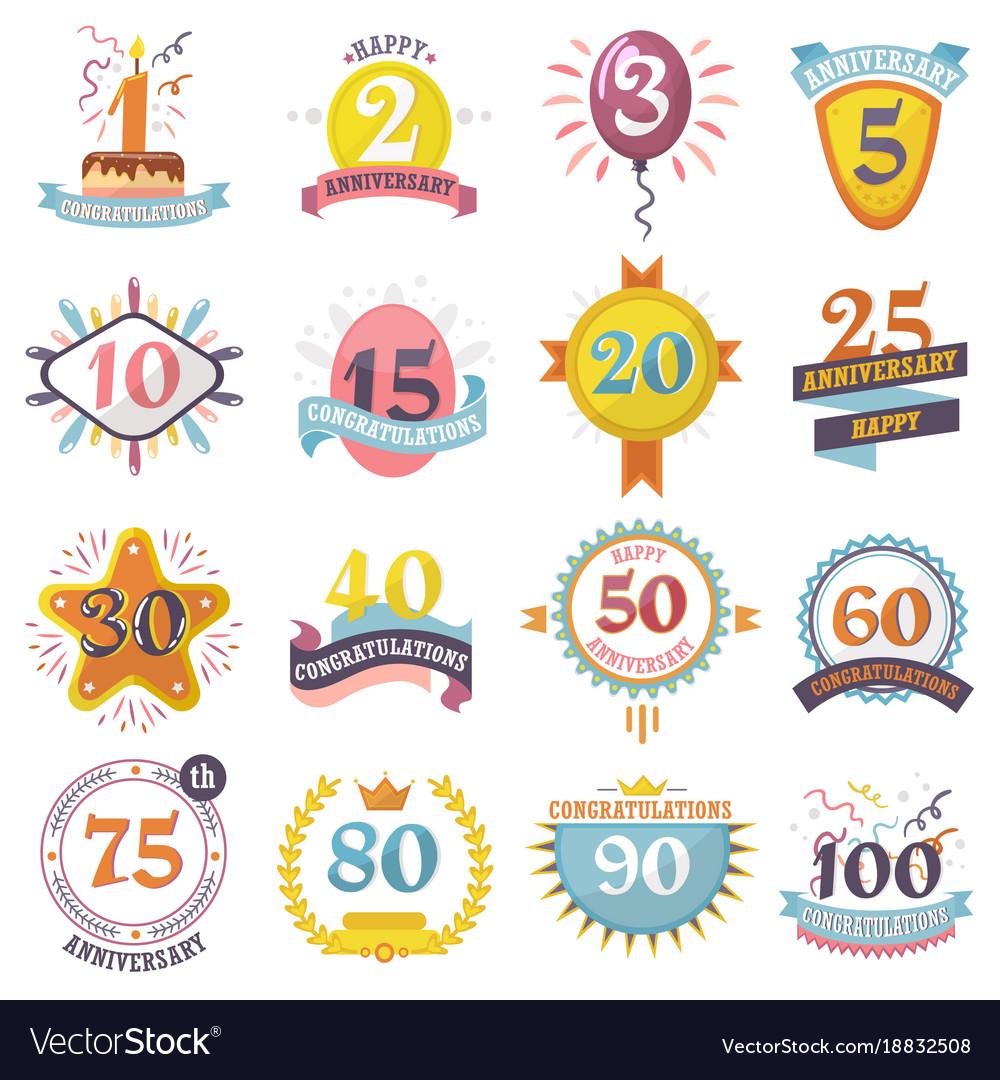 Anniversary badges set birthday numbers