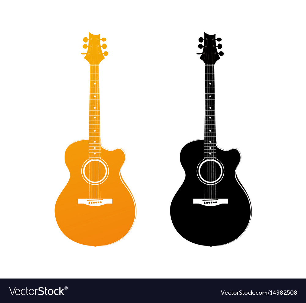 Golden icon of acoustic guitar