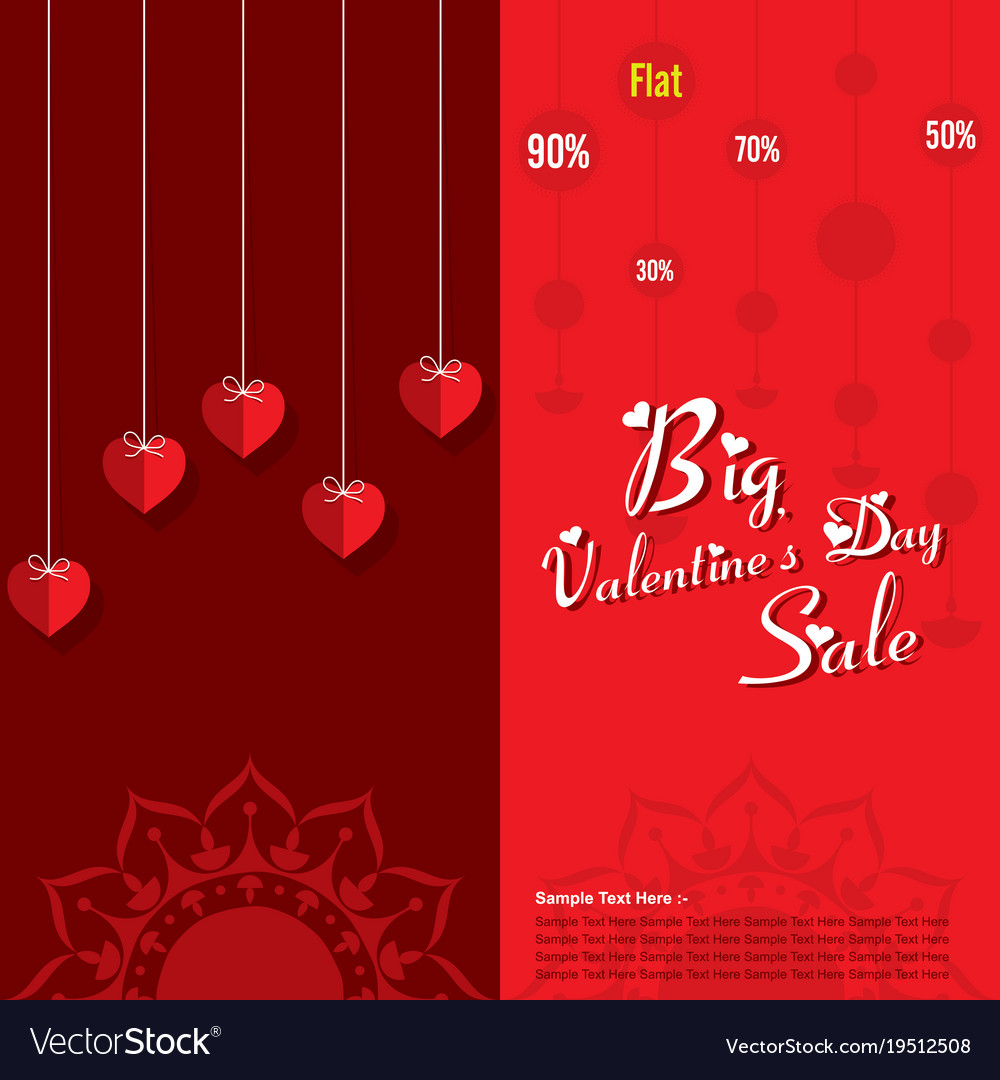 Happy Valentines Day Sale Banner Design Royalty Free Vector