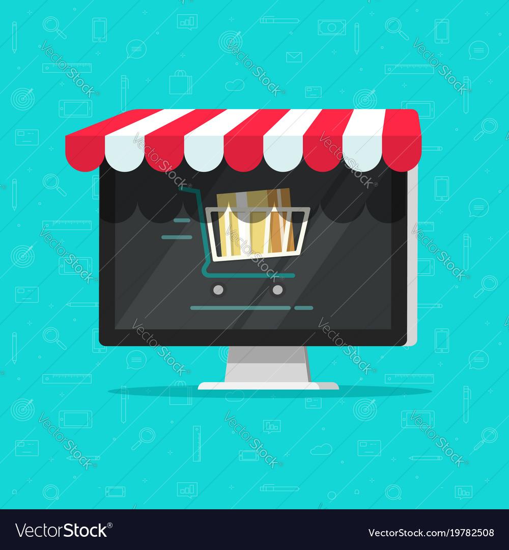 Online shop on computer e vector image