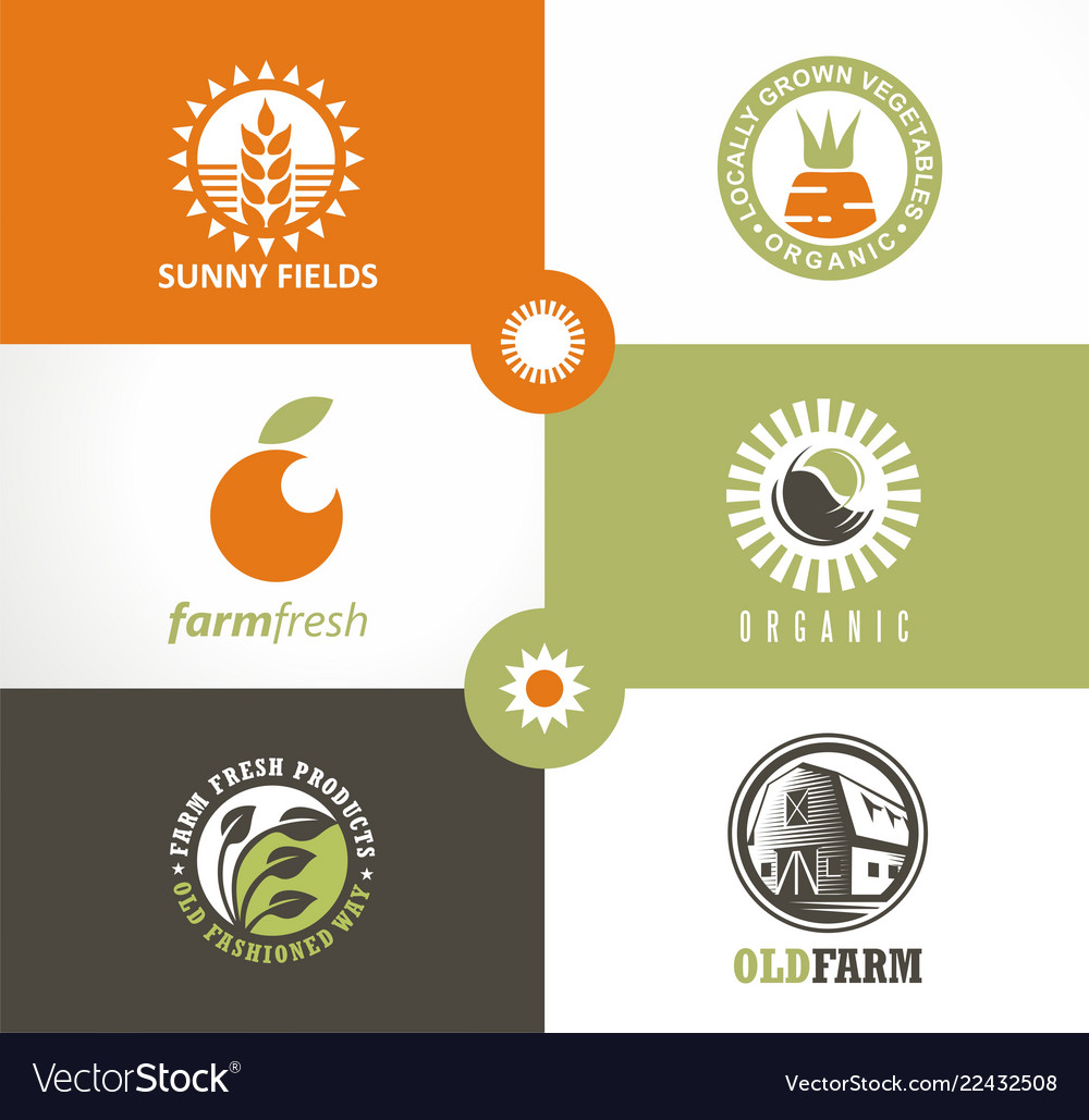 Organic vegetables fresh products logo