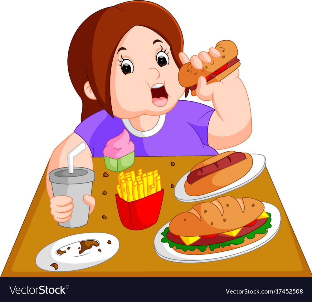 Overweight woman eating fast food