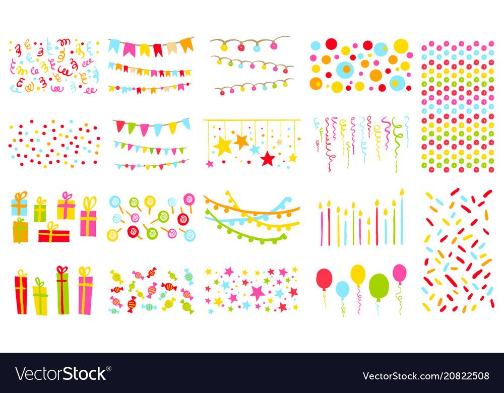 Party elements big set pennants flags garlands vector image