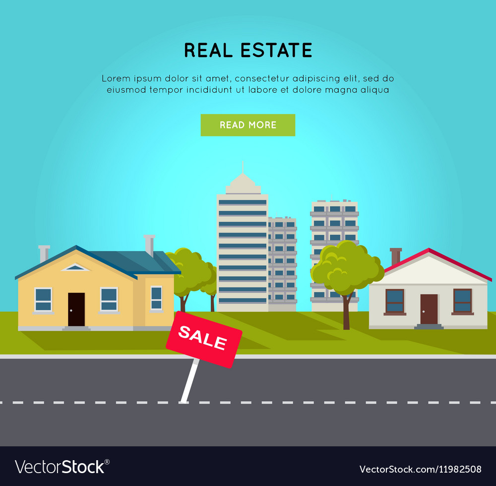 Real Estate Web Banner In Flat Design Royalty Free Vector