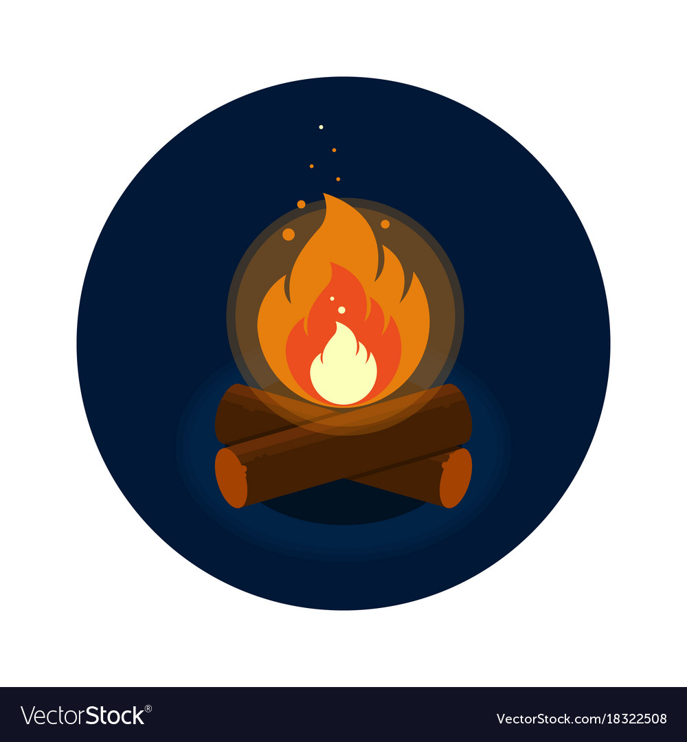 Round icon of bright bonfire with firewood on dark