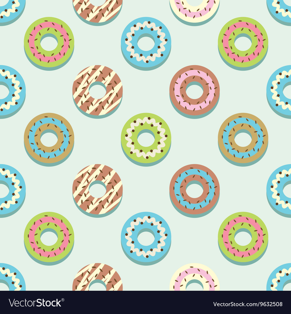 Seamless Pattern Different Style Colorful Donuts