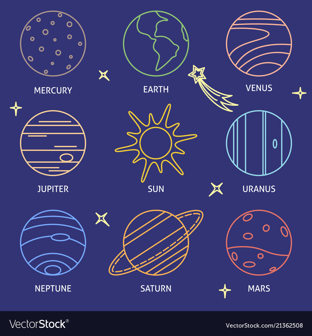 solar system planets icon color set in line style vector image