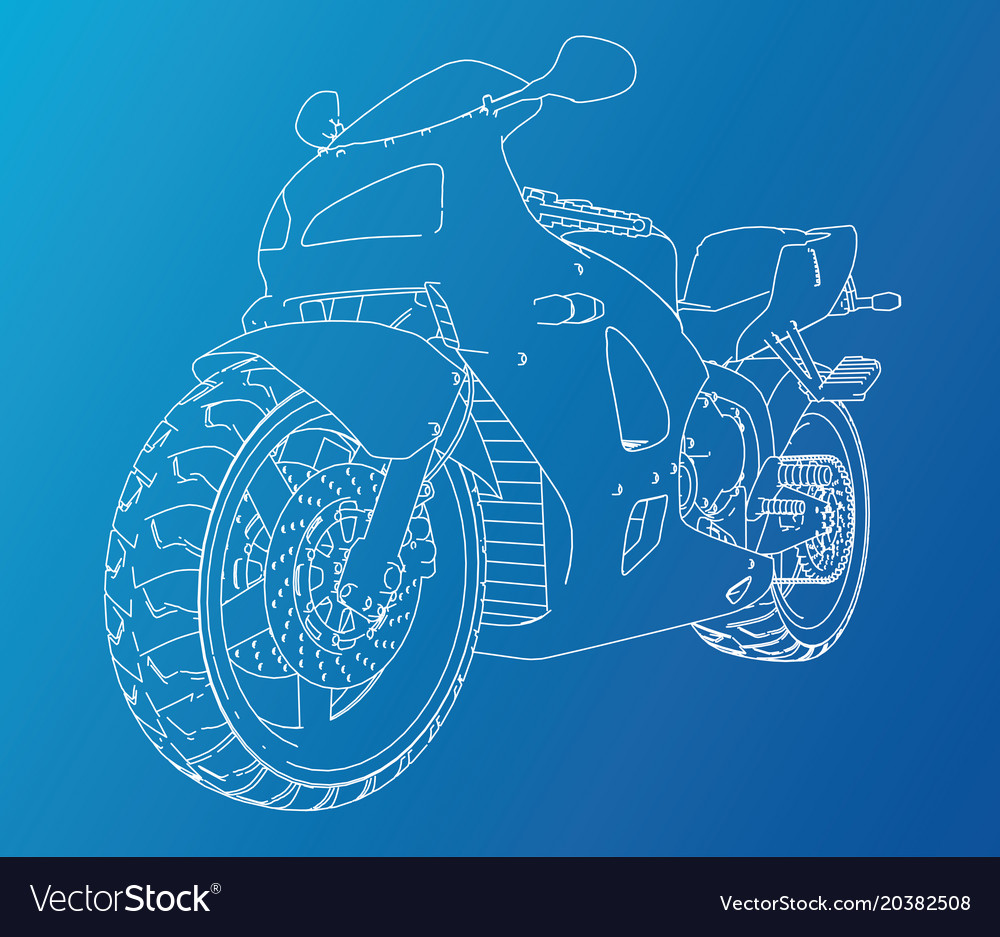 Sport motorbike technical wire-frame Royalty Free Vector