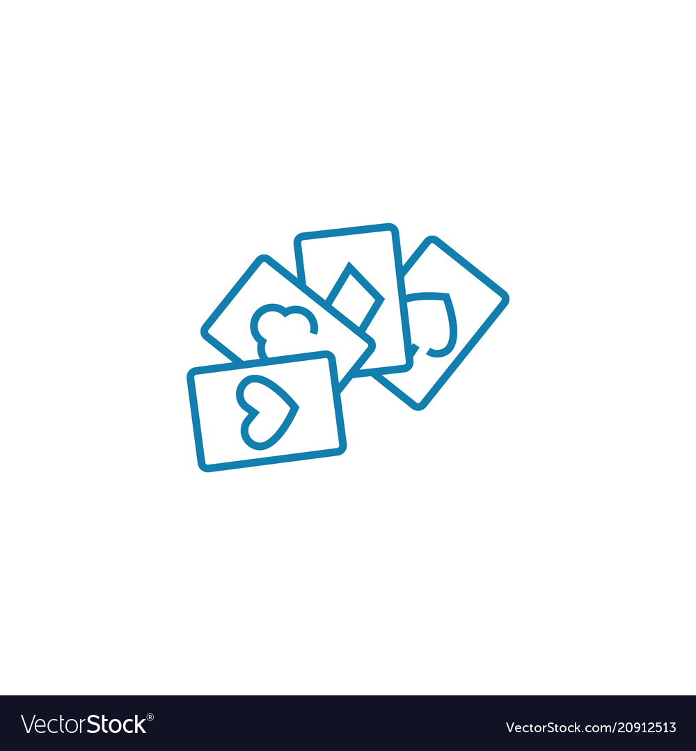 Card games linear icon concept card games line