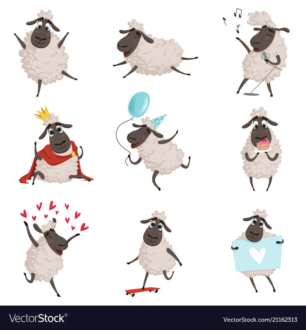 Cartoon farm animals sheep playing and making