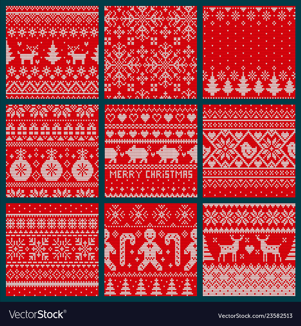 Christmas embroidery seamless knitted pattern set