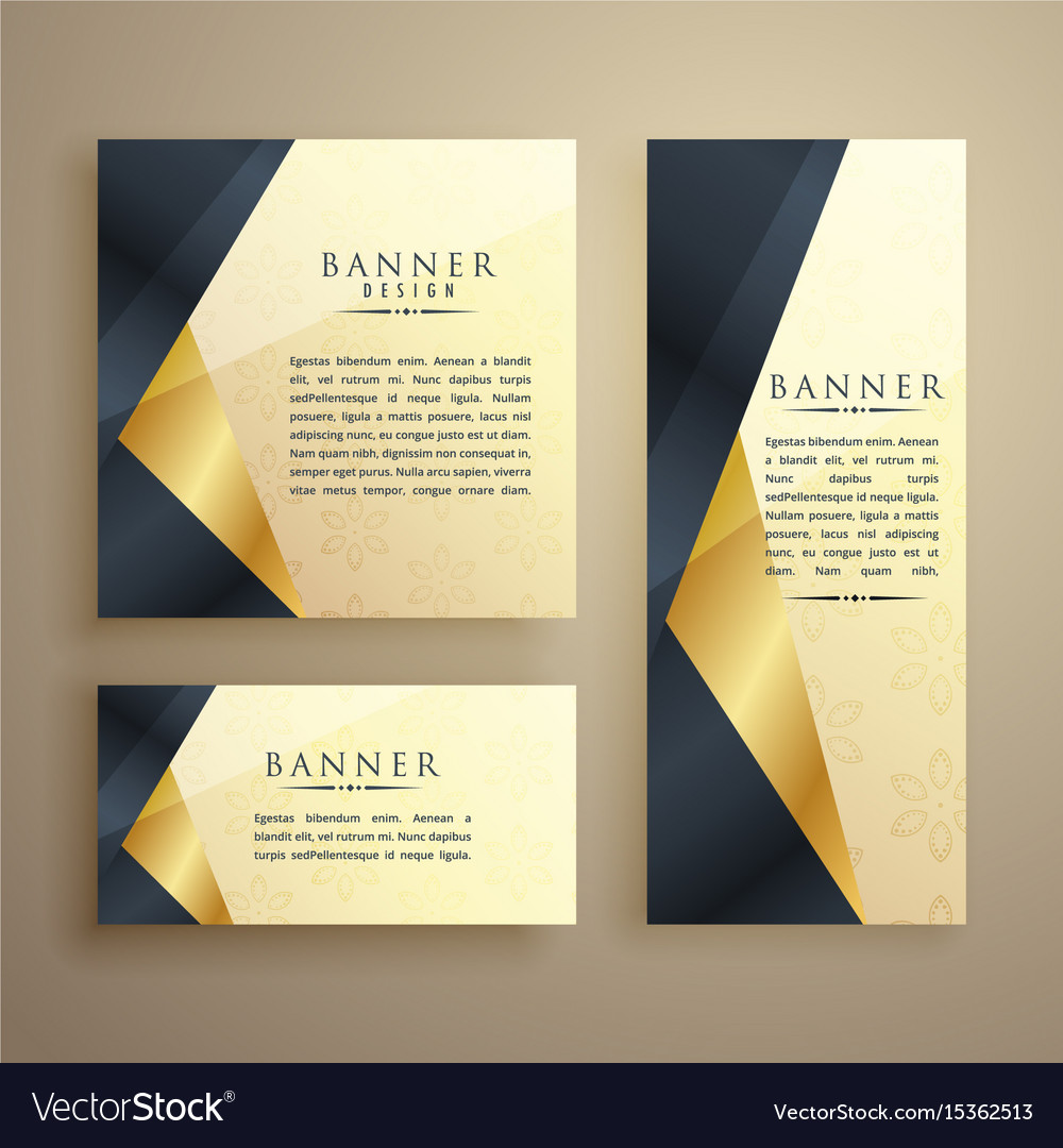 Elegant set of three premium banners or card Vector Image