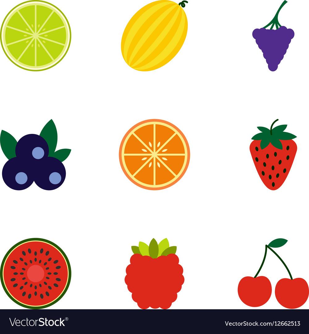 Fresh fruit icons set flat style vector image