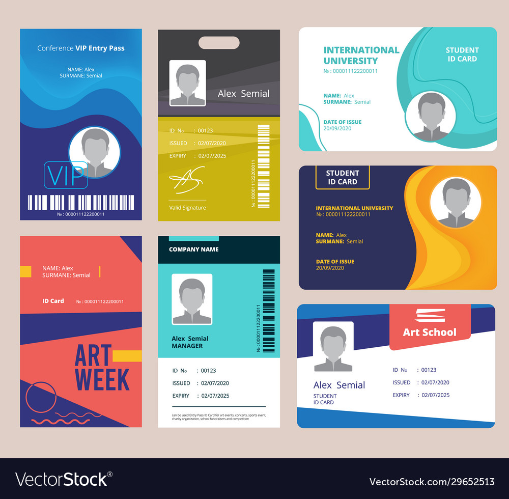 Id card template identification badge for male