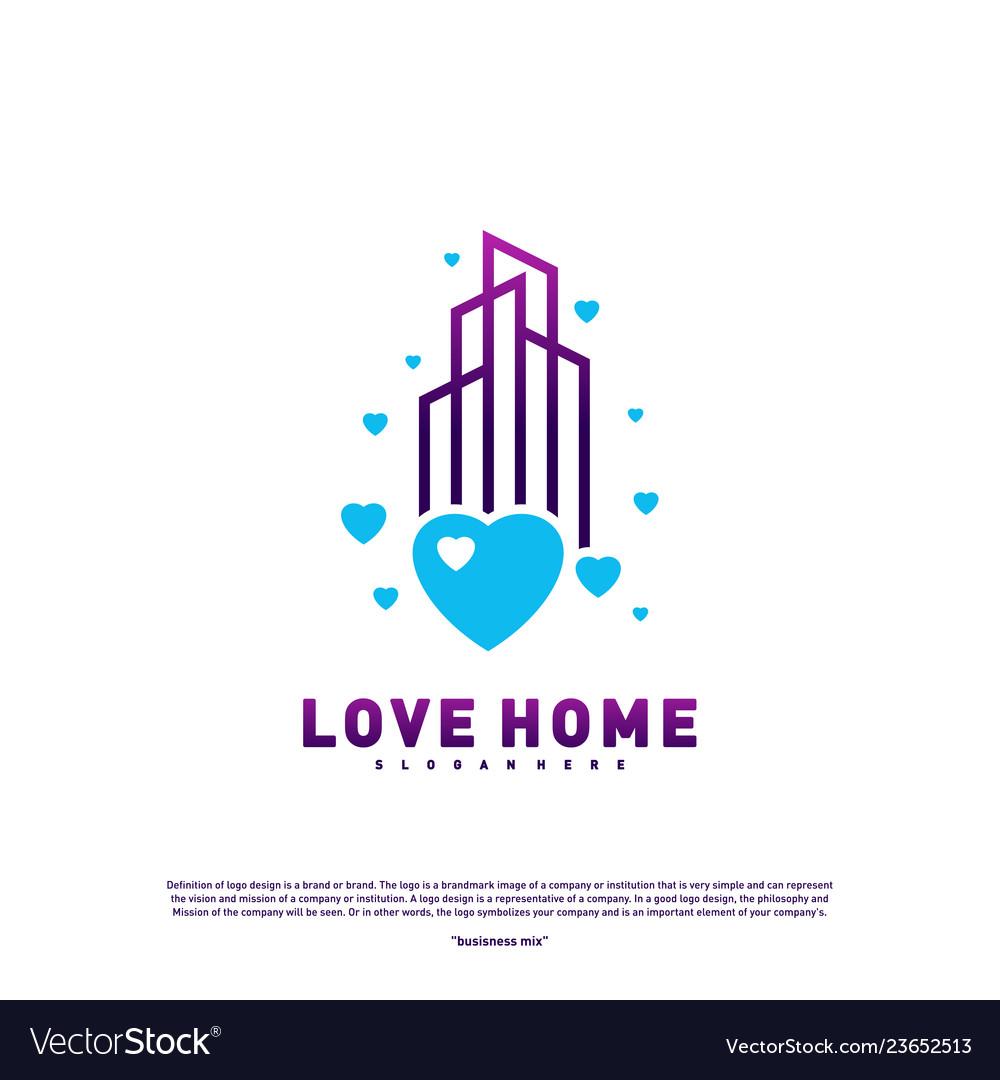 Modern city love logo design concept business