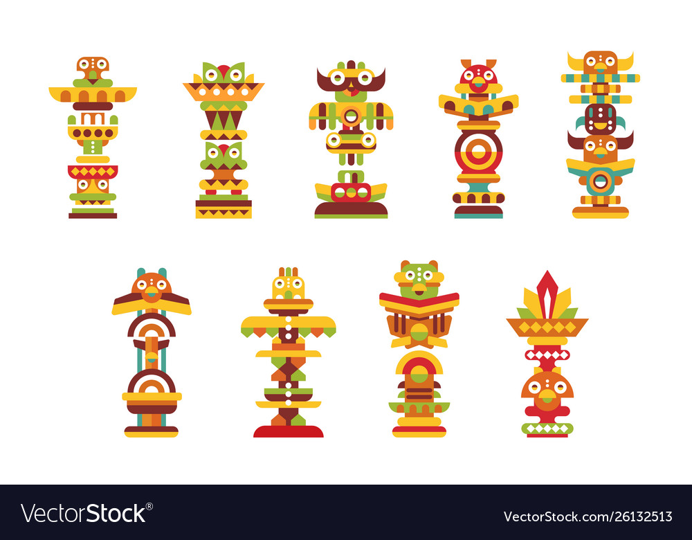 Religious totem set colorful native cultural