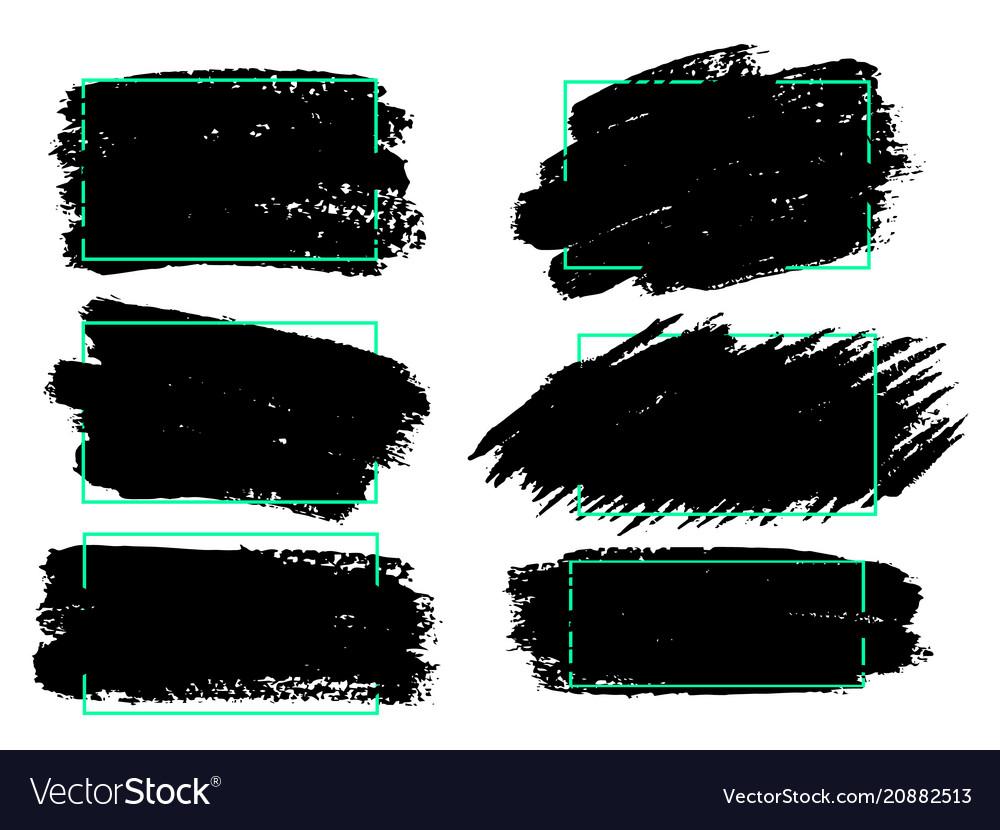 Set black paint ink brush strokes brushes lines