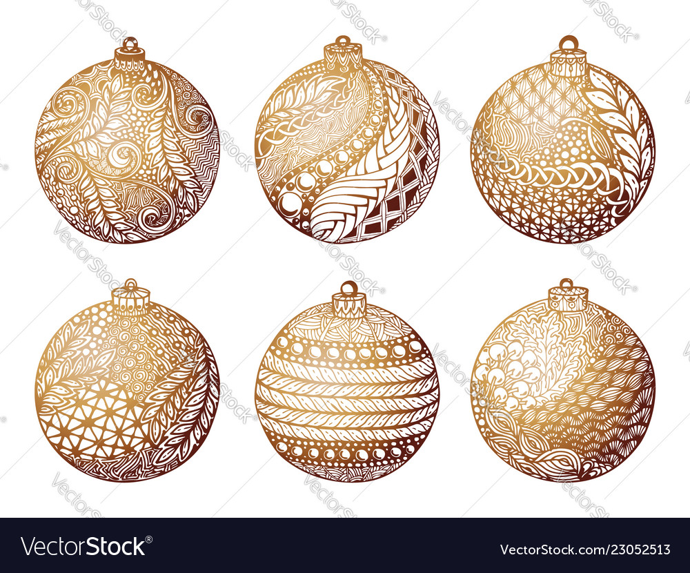 Set gold christmas ball hand-drawn design
