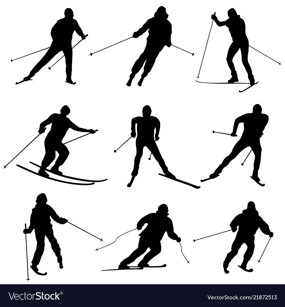 Set of silhouettes skiers