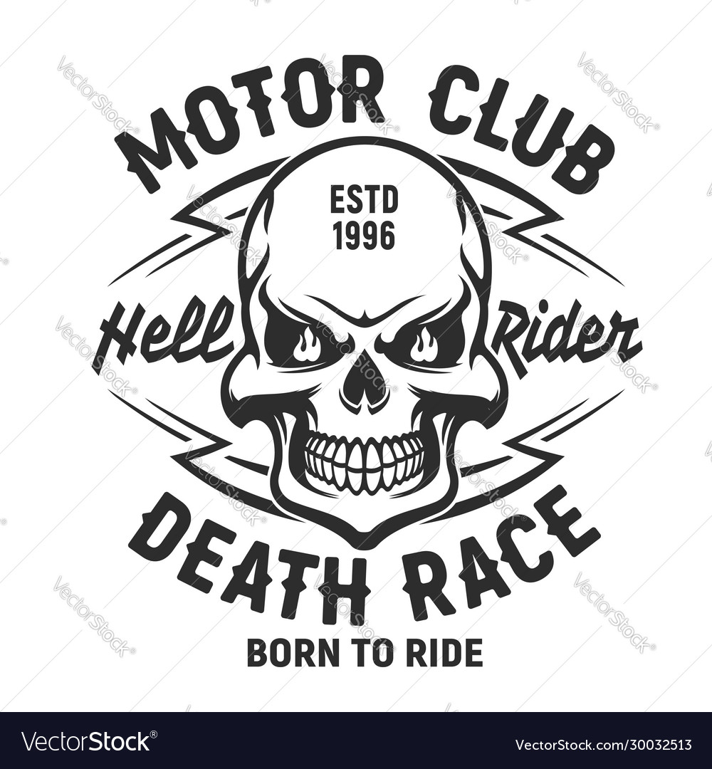Skull t-shirt print mockup motor club society