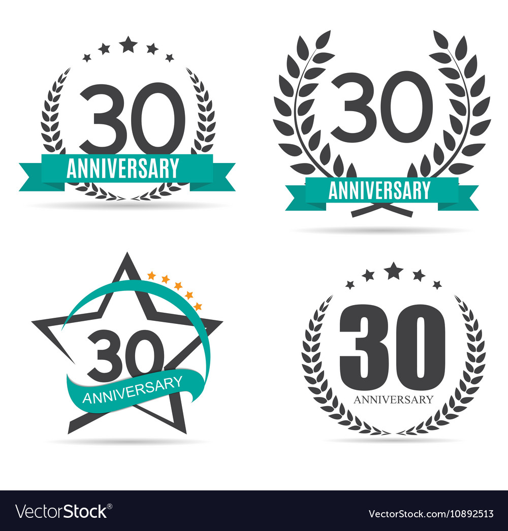 Template Logo 30 Years Anniversary Set vector image