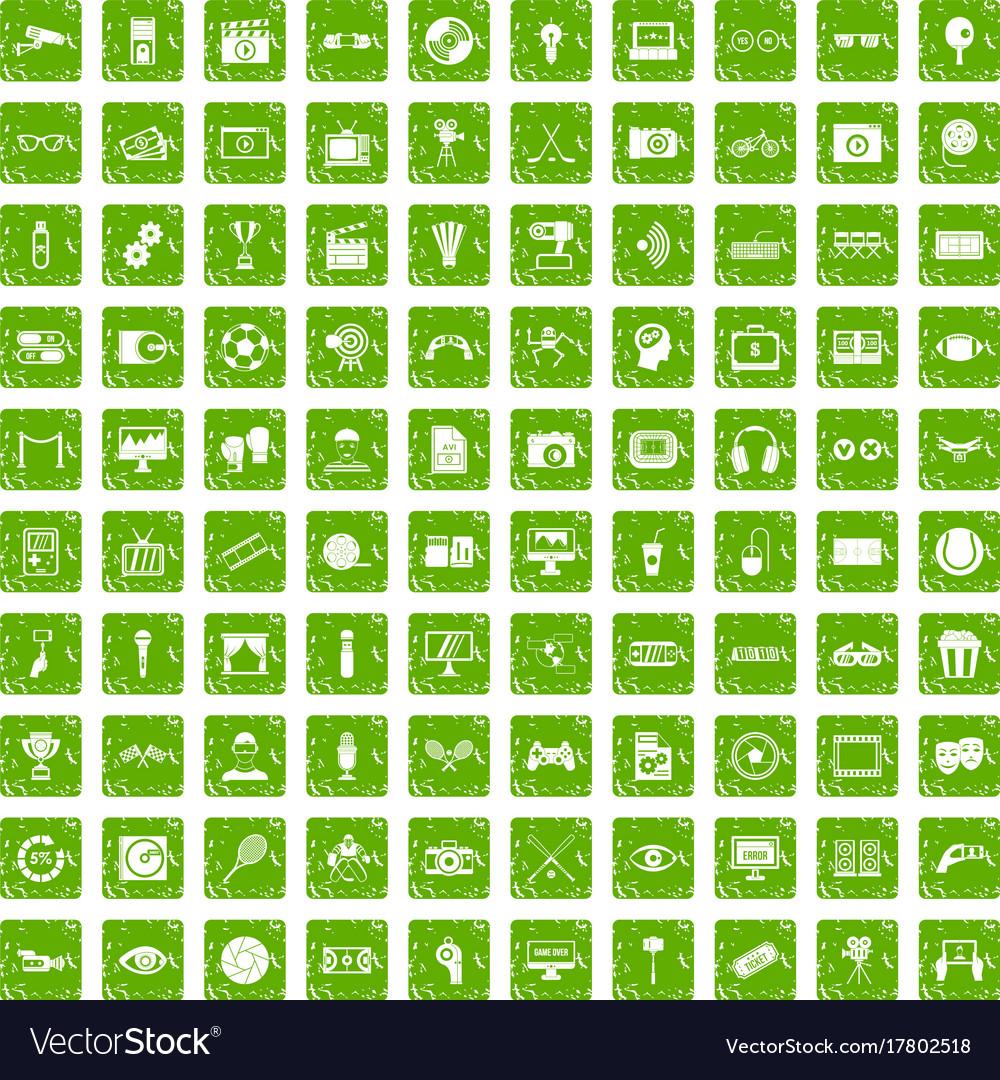 100 video icons set grunge green